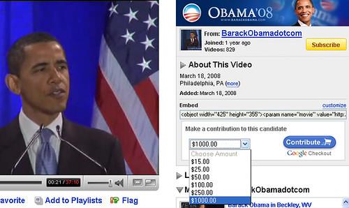 YouTube Spendet an Obama