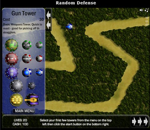 Random Defense, a Tower Defense screenshot 1 taken from ITCH