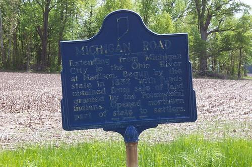 Michigan Road historical marker at US 50