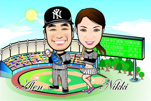 Q Digital Caricature Baseball Theme Drawing