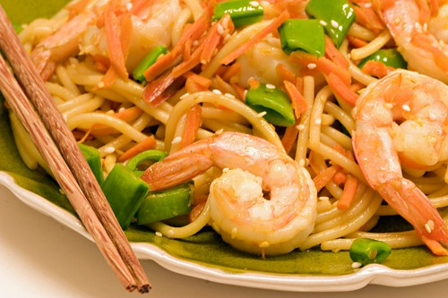 Long Life Fertility Noodles With Happy Shrimp Recipe — Dishmaps