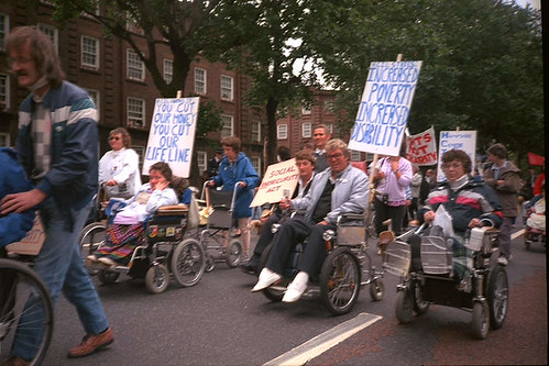 Protest march by disabled people to the DHSS  Head Office in Elephant and Castle  London