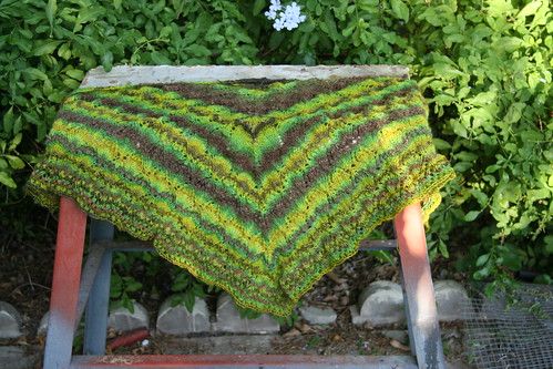 North Roe shawl pre-blocking