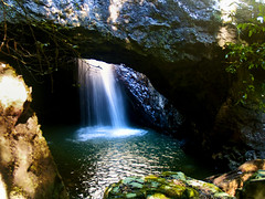 Natural Bridge (Erik K Veland) Tags: blue light plants cold green nature water contrast waterfall pond rocks stream warm colours australia naturalbridge explore qld queensland cave tamborine mttamborine