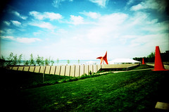 Olympic Sculpture Park (ChrisVill) Tags: seattle film xpro crossprocess toycamera ektachrome vivitar e100vs olympicsculpturepark ultrawideandslim
