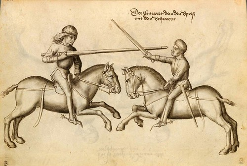 13-Lucha de jinetes sin armadura con pica y espada 134r