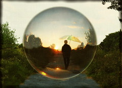 Big Bubble (h.koppdelaney) Tags: old light sun man art digital umbrella self freedom golden evening crazy key peace absurd walk dream surreal happiness dreaming illusion age silence bubble wisdom lucid nonsense fool archetype hourofthesoul