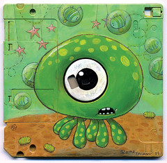 """The Bubblebees Are No Cause For Concern"" (jimbradshaw) Tags: art illustration painting acrylic mixedmedia character cartoon octopus aquatic foundobject floppydisk jimbradshaw"