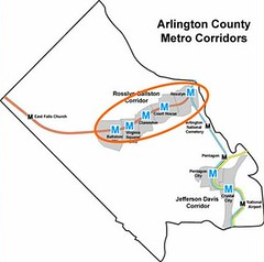 the Rosslyn-Ballston corridor is outlined in red (by: Arlington County, VA)