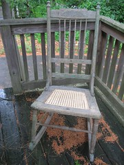 Rocking chair with hand-caned seat