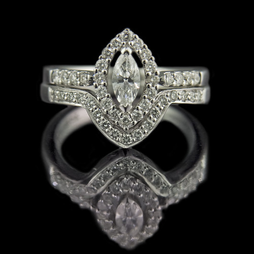 marquise ring with v shaped wedding ring