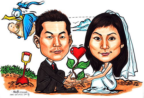 Couple wedding caricatures Seed of Love