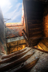 Stairway to the Roof (country_boy_shane) Tags: lighting windows light red urban orange brown sun mist hot west brick green texture abandoned rotting station fog architecture danger photoshop sunrise wonder fire hope office rust warm glow shane decay michigan quality side homeless detroit central neglected basement wave fringe save marks adventure burnt restore heat flashlight weathered glowing rays lovely decrepit avenue filth exploration shame discovery shatter hdr mcs decayed treasures trespassing ue lightroom gorski bagley canonefs1022mmf3545usm canon30d texturize