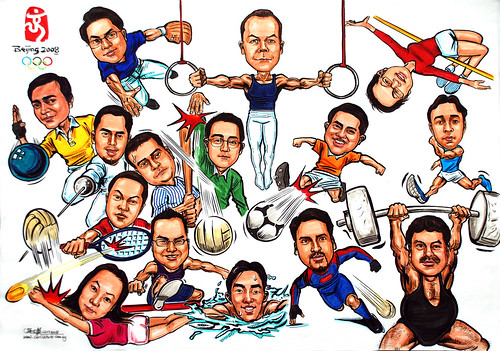 Group caricatures for Microsoft SEA Team colour