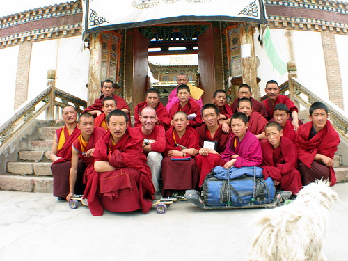 The monks of the Arou Buddhist Temple in Arou, Qinghai Province, China