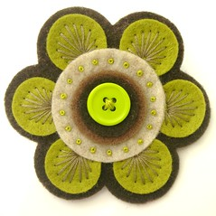 70S FELT BROOCH (APPLIQUE-designedbyjane) Tags: vintage pin brooch silk felt cotton button 70s corsage embroidered