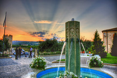 Fountain of youth (rmrayner) Tags: flowers sunset sky italy sunlight castle water fountain rural canon spectacular landscape outside outdoors eos countryside daylight pond scenery view courtyard vista handheld rays canoneos hdr highdynamicrange 202 crepuscularrays thegreatoutdoors theworld planetearth tripleshot 3xp photomatix tonemapped aeb 3exposures truetone hdrimage handheldhdr hdrsky hdrskies hdrpicture hdrclouds photomatixhdr hdriimage rmrayner hdrview mozzagrogna castellodisepte ralphrayner hdrscene landscapeandsky landscapewithsky