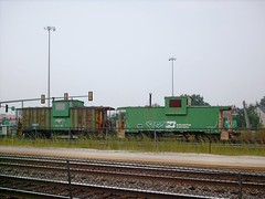 Two former Burlington Northern cabooses. Clyde Yard. Cicero Illinois. September 2007.