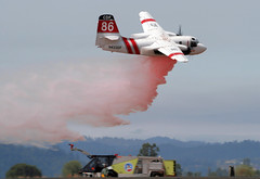 Cal Fire S-2T Retardant Drop (mvonraesfeld) Tags: red truck fire drop demonstration firefighter cdf retardant s2t calfire marshaviation