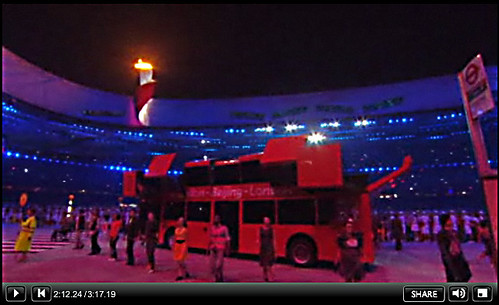 Transforming Double Decker Bus - Olympic Handover - BBC Screengrab