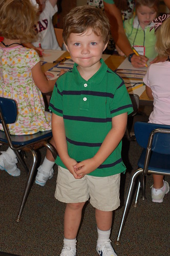 first day of school, in his room.