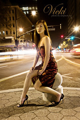 Vicki (simpsonyiu.com) Tags: camera streets cars lens lights moving san downtown pattern slow dress bright zoom flash chinese shutter sj heels fernando l hood 5d wang f80 flashing vicki fill 2470mm f28l 1sec aplusphoto simpsonyiucom