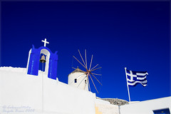 Elements of Greece, Oia - Santorini (Angelo Bosco) Tags: blue white windmill cross bell blu flag belltower campanile campana santorini greece grecia bianco soe oia mulino croce bandiera mulini  muliniavento singintheblues mulinoavento  bej  overtheexcellence   goldstaraward colourednotes angelobosco