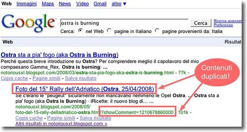 Dimostrazione che i contenuti duplicati di Blogger / Blogspot escono nelle SERP by notoriousxl.