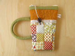 CoffeeMug pouch 30 (PatchworkPottery) Tags: coffee bag handmade sewing crafts pouch mug zipper quilted patchwork wristlet eyeglasscase