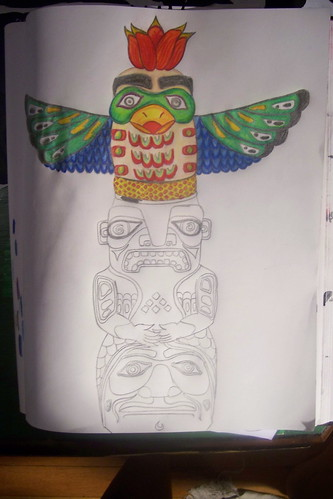tattoo design. totem pole