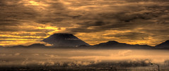 Fuji Morning (TheJbot) Tags: panorama orange mountain storm weather japan skyline sunrise japanese fuji  hdr jbot tonemapping  goldstaraward thejbot