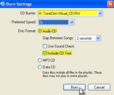 Burn Settings at iTunes 8