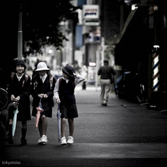 three students (tokyololas) Tags: street city people urban 3 students japan tokyo candid   canon40d tokyololas