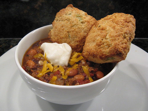 Chili with Buttermilk Biscuits with Green Onions & Cheddar