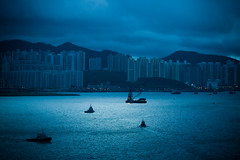 (* tathei *) Tags: china new city morning blue sea home canon hongkong eos boat early ship view harbour 5d f2 kowloon ef bluish 135mml