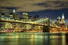 Brooklyn Bridge (Jrg Dickmann) Tags: city nyc newyorkcity bridge ny newyork topf25 skyline brooklyn night river geotagged lights topf50 cityscape nightscape manhattan dumbo brooklynbridge eastriver canon5d topf100 fultonferry pier17 empirefultonferrypark empirefultonferrystatepark canon2470 jrgdickmann geo:lat=40704176 geo:lon=73990715