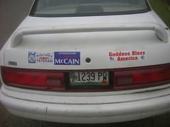 Goddess Worshipping Veterans for McCain (Mongibeddu) Tags: world election war bangor maine goddess ii bumpersticker veteran republican mccain bumperstickers republicanparty johnmccain