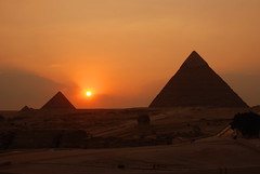 Great Pyramids at Giza. (Globalviewfinder) Tags: africa travel sunset vacation holiday history evening twilight ancient nikon ship desert pyramid great egypt east cairo camel arab backpack arabia pyramids middle giza pharoh d80 nikond80 colourartaward