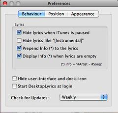 DesktopLyrics 设置