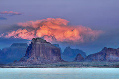 Padre Butte Sunset (jssutt) Tags: sunset water clouds photoshop getty dri hdr houseboats gettyimages lakepowell waterski photomatix digitalblending padrebay jssutt jeffsuttlemyre