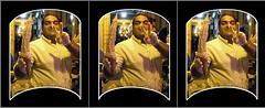 Two in one_Triplet Stereoscopic 3d picture (Shahrokh Dabiri) Tags: two man smile stand persian 3d iran fingers picture stereo icecream vendor iranian triplet sidebyside depth stereography mashad sterography kosangi throughthewindoweffect