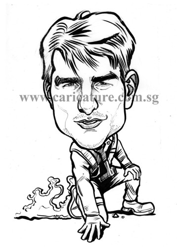 Celebrity caricatures - Tom Cruise ink watermark