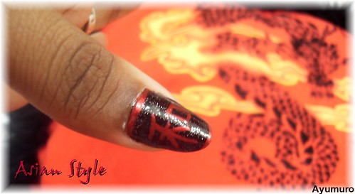 nail art gallery, Asian style nails, nail art designs, nail polish gallery, Asian red dragon style chinese nail art design., nail art designs gallery