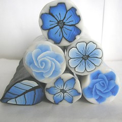 Delft blue polymer clay canes