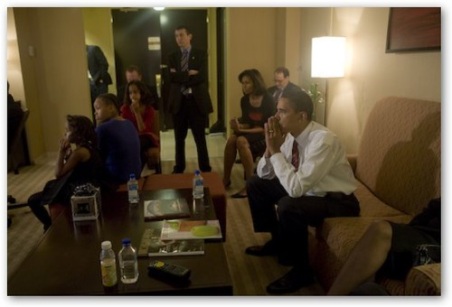 Obama Tents Fingers While Watching News Coverage of Victory
