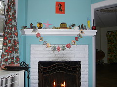 obama garland on the mantle. (stephiblu) Tags: november autumn party guests fun nj montclair 2008 autumnball autumnball2008 tichenortichenors