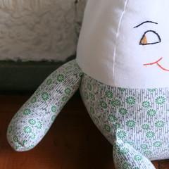 New Humpty detail (amandamonkey) Tags: vintage toy stuffed doll mother goose plush humpty dumpty rag