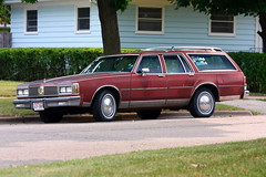 Classic Estate (Mazda6 (Tor)) Tags: auto brown classic grass car wagon big american custom cruiser olds oldsmobile stationwagon boxy