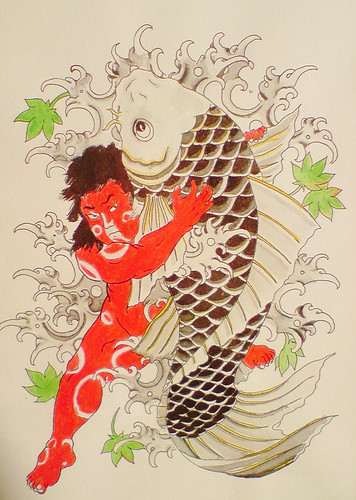 Traditional Japanese tattoo flash Kintaro and KOI