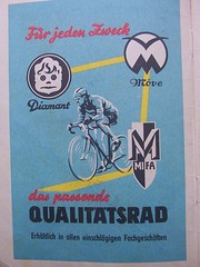 The trio of top GDR bicycle marques (sludgegulper) Tags: seagull mifa chemnitz diamant moeve karlmarxstadt sangerhausen